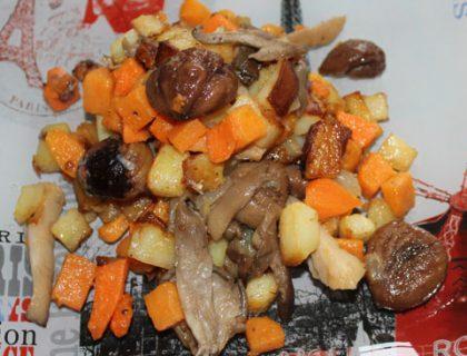 poellee marrons pleurottes patates douces