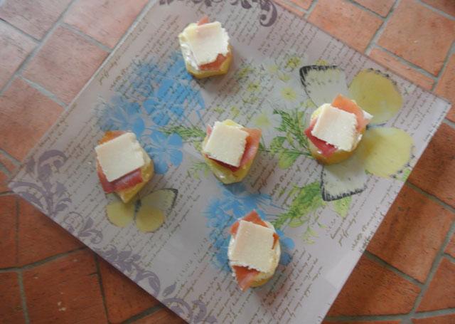 toasts de pommes de terres au jambon cru et parmesan