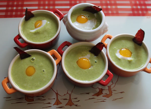 veloute petits pois oeuf de caille