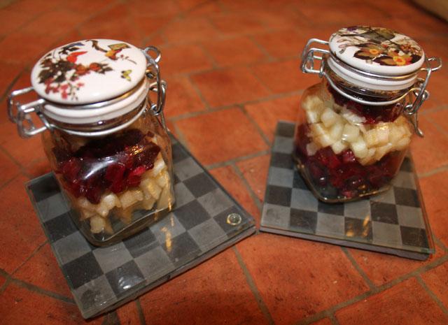 verrine betteraves crues et pommes granny smith