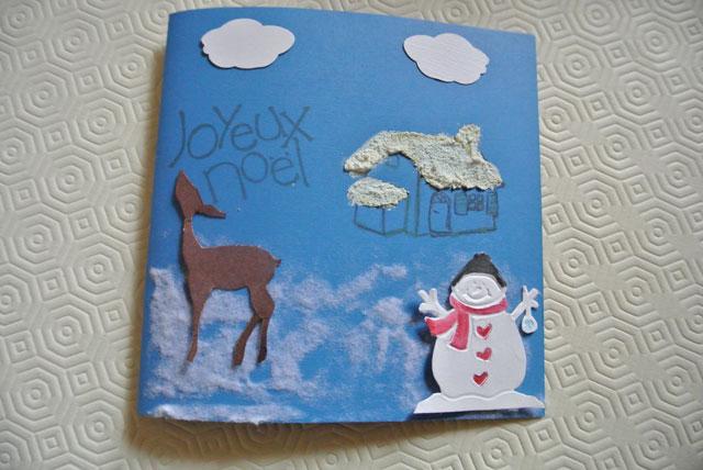 carte noel bonhomme de neige