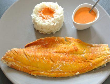 haddock au riz et coulis de poivrons