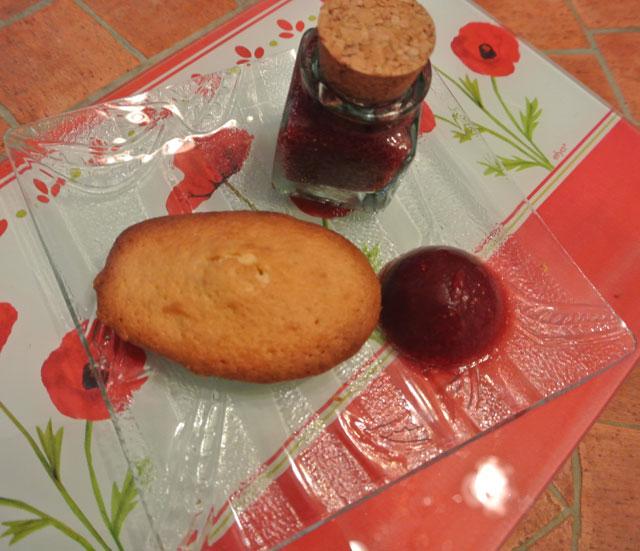 madeleines glacons de fraises au vin rouge