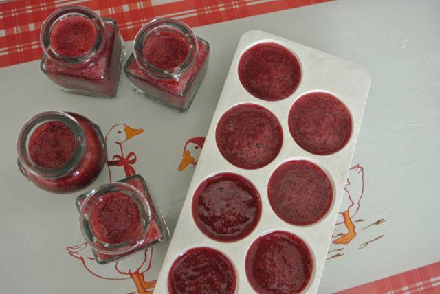 glacons de fraises au vin rouge