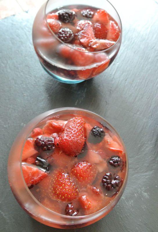 miroir fraises et fruits rouges