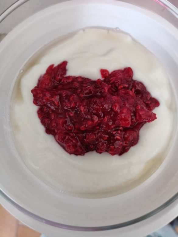 compote rhubarbe framboises fromage blanc chantilly