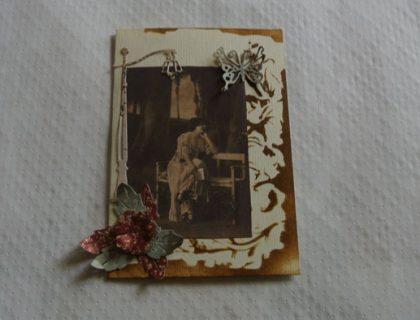 carte vintage fleurs et papillon