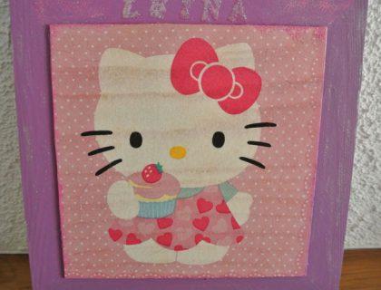 cadre hello kitty en serviettage
